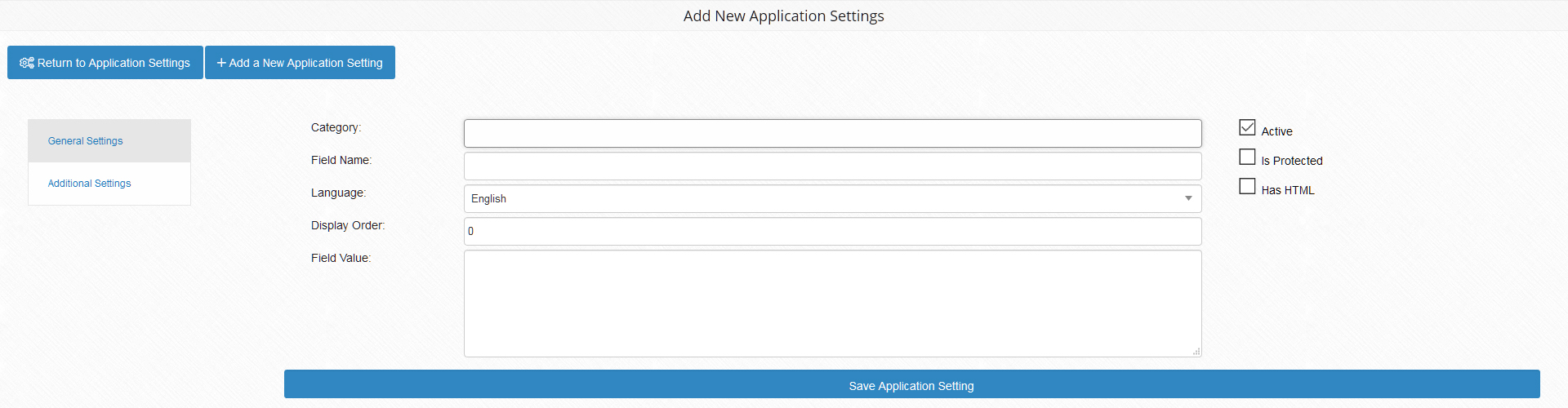 Application Settings Advanced