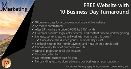 Get your FREE custom-built website today!